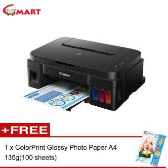 Harga Canon PIXMA G2000 Refillable Ink Tank All-In-One Printer Free Glossy A4 Photo Paper