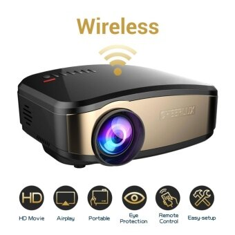 Harga CHEERLUX Wifi Mini Projector For iphone Android Smart PhoneWireless Projector Portable With HDMI USB Headphone Jack TV GoodFor Home Theater Game Movie XBOX ONE Max 130'' Display -Black/Golden Face