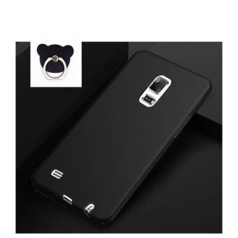 Classic High Quality 360 ultra-thin matte PC hard Cover Case ForSamsung Galaxy Note 4 (Black+Bear ring) - intl