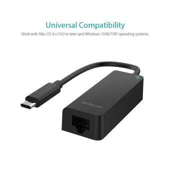 Harga dodocool USB 3.1 Type-C Thunderbolt 3 to RJ-45 10/100/1000 GigabitEthernet LAN Network Adapter for Mac OS X and Windows OperatingSystems Black