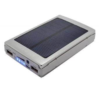 Dual USB Solar Power Bank Solar Mobile Matte Power Bank 20000mAhPowerful Solar Power Bank 20000mAh Charge with Sunlight (Silver)