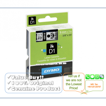 Harga Dymo D1 Label Cassette/Tape/Refill 9mm*7m Black On Clear (Original& Genuine Dymo Product)