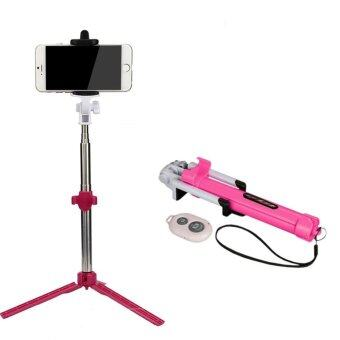 Foldable Bluetooth Shutter Selfie Stick + Tripod Monopod Sticks Remote Control Stand Holder (Pink)