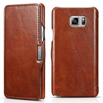 Harga For Icarercase Vintage Genuine Leather Wallet Case for SamsungGalaxy Note 5 Mobile Phone Flip Cover for Galaxy Note5 5.7 Inchwith Credit Card Slot (Brown)