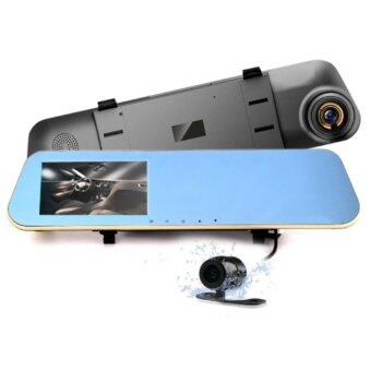 FULL HD 1080P Dual Camera & Reversed Camcorder Car Recorder 4.3 inch Big Screen Rear View Car Camera Dual lens Rearview Mirror Dash Cam
