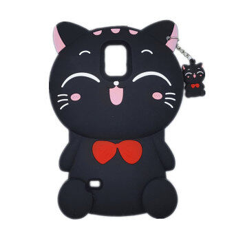 Galaxy Note3 Case,Lucky Cat Fortune Cat Black & White KittyWith Bow Silicone Rubber Phone Case Cover For Samsung Galaxy Note3