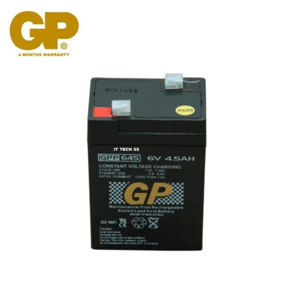 GENUINE GP 6V 4.5Ah Rechargeable Sealed Lead Acid Battery (GPP645) Malaysia