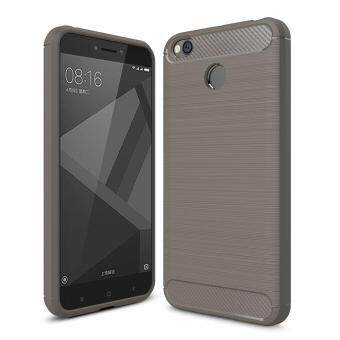 Hicase Carbon Fiber Drop Protection Anti-Scratch Slim Soft TPU BackCover For Xiaomi Redmi 4X Grey
