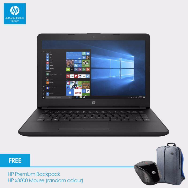 HP 14-bs033TX laptop (i3-6006U, 4GBD4, 500GB, AMD 520 2GB, 14.0, Win10) - Jet Black + HP Backpack n HP x3000 Wireless Mouse Malaysia