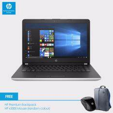 HP 14-bs538TU Laptop (Celeron N3060, 4GBD3, 500GB, 14.0, Win10) - Natural Silver + HP Backpack n x3000 Wireless Mouse Malaysia