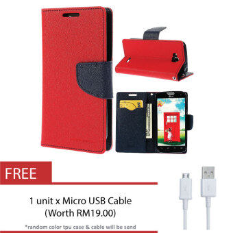 Harga HTC One M8 Genuine Mercury Fancy Diary Case + FREE USB Cable - Red