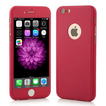 I Tech 360 Degree Full Body Protection Cover Show Logo Case With Tempered Glass For iPhone 6 Plus/6S Plus (Red)
