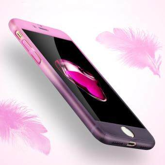 I Tech 360 Degree Full Body Protection Cover Show Logo Case With Tempered Glass For iPhone 7 Plus (Pink/Purple)