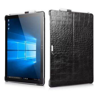 Harga Icarer Ultra-Thin Lightweight Embossed Crocodile Classical GenuineLeather Protective Back Case Cover For Microsoft Surface Pro 4 12.3Inch (Black)