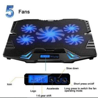 ICE COOREL K5 Super Mute 5 Fans Ice Cooling Technology Cooler Pad with Rack Stand and Built-in LCD Display 6 Speed control of Fans for Laptop (NB48)-Black Malaysia