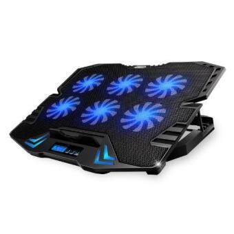 ICE COOREL K8 Super Mute 6 Fans Ice Cooling Technology Cooler Pad with Rack Stand and Built-in LCD Display 6 Speed control of Fans for Laptop (NB48)-Black Malaysia