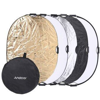 Harga Andoer 90 * 120cm 5in1 Round Collapsible Multi-Disc Portable Circular Photo Photography Studio Video Light Reflector