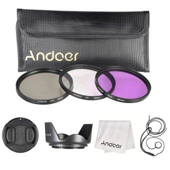 Harga Andoer 62mm Filter Kit (UV+CPL+FLD)/Nylon Carry Pouch/Lens Cap/Lens Cap Holder/Lens Hood/Lens Cleaning Cloth