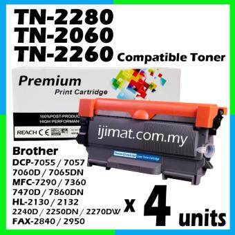 Harga 4 Units Compatible Laser Toner Brother TN2060 / TN2260 / TN2280 Toner Cartridge For Brother HL-2130 / DCP-7055 / HL-2240D / HL-2250DN / HL-2270DW / DCP-7060D / MFC-7360 / MFC-7860DW / FAX-2840 Printer