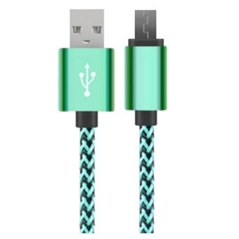 Harga 1 Meter Nylon Braided USB Cable For Android Phone Cable with Connector Sync&Charge Cable For Samsung Asus Oppo Lenovo Xiaomi & All Android Phone (Green)