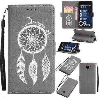 Harga Premium Embossed Wind Chimes PU Leather Wallet Folio Flip Cases with Detachable Wrist Strap Card Slots Kickstand Function Cover Case for Samsung Galaxy C9 Pro