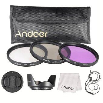 Harga Andoer 55mm Filter Kit (UV+CPL+FLD)/Nylon Carry Pouch/Lens Cap/Lens Cap Holder/Lens Hood/Lens Cleaning Cloth