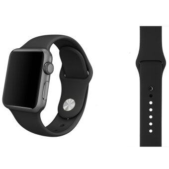 Harga Soft Silicone Watch Band Strap With Connector Adapter For Apple Watch iWatch 38mm (Black) - Int'L