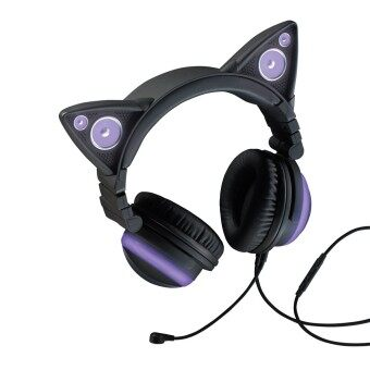 Harga Brookstone Axent Wear Cat Ear Headphones (Purple)