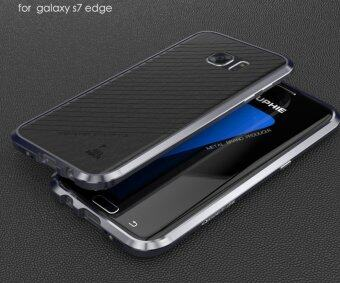 Harga Luphie Leather Back + Aluminum Bumper Frame Case for Samsung Galaxy S7 Edge (Gray)