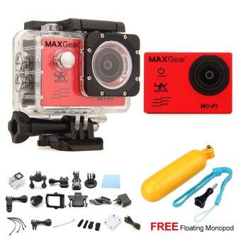 Harga MAXGear V6 4K 30fps Wifi 16M Sport Action Camera Waterproof Upgraded V4 V5 + FREE Floating Monopod - Red