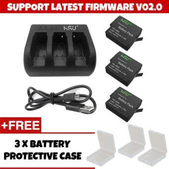 Harga (GENUINE) HSU SUPPORT NEW FIRMWARE V02.0 HSU GoPro Accessory 3 Pack 3.85 V GoPro Hero 5 Battery with 3 Slot Charger Kit