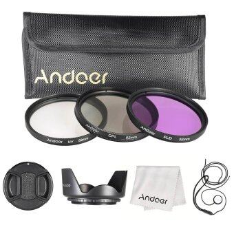 Harga Andoer 52mm Filter Kit (UV+CPL+FLD) + Nylon Carry Pouch/Lens Cap/Lens Cap Holder/Lens Hood/Lens Cleaning Cloth