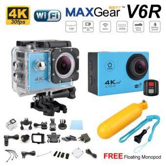 Harga MAXGear V6R 4K 30fps Remote 16M Sport Action Camera Waterproof WiFi Upgraded V4 V5 Sony FREE Monopod-Blue