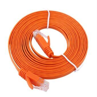 Harga RJ45 CAT6 Ethernet Network Flat LAN Cable UTP Patch Router Cables 1000M (Orange 3meters)