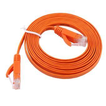 Harga RJ45 CAT6 Ethernet Network Flat LAN Cable UTP Patch Router Cables 1000M (Orange 2meters)