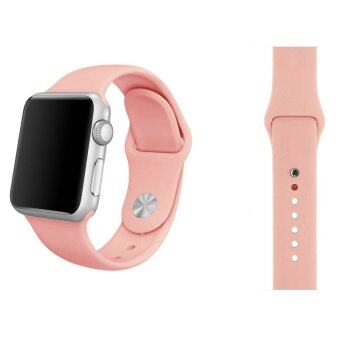 Harga Soft Silicone Watch Band Strap With Connector Adapter For Apple Watch iWatch 42mm (Pink) - Int'L