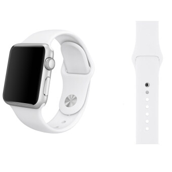 Harga Soft Silicone Watch Band Strap With Connector Adapter For Apple Watch iWatch 42mm (White) - Int'L