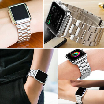 Harga Moonar Stainless Steel Bracelet Link Watch Band Strap with Connector for Apple Watch iWatch (Silver-42mm)