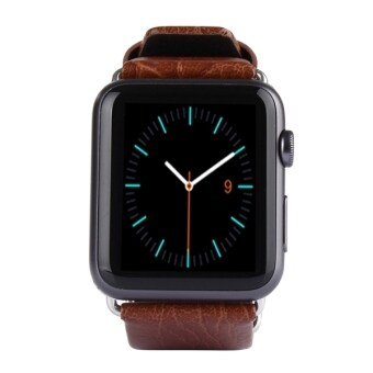 Harga Kakapi Double-buckle Genuine Cowhide Leather Watchband with Connector for Apple Watch 42mm(Brown)