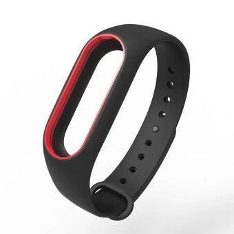 Harga Original Mijobs Replace Silicon Strap For Xiaomi Mi Band 2 Replaceable Belt For MiBand 2 – Black with Red