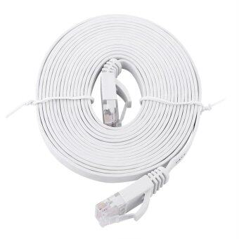 Harga RJ45 CAT6 Ethernet Network Flat LAN Cable UTP Patch Router Cables 1000M (White 3meters)