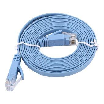 Harga RJ45 CAT6 Ethernet Network Flat LAN Cable UTP Patch Router Cables 1000M (Blue 2meters)