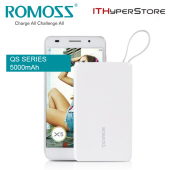 Harga ROMOSS QS05 5000mAh Power Bank Mini Portable Charger with Built-in micro USB Cable and Lightning