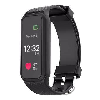 Harga Makibes L38I Bluetooth 4.0 Smart Bracelet Heart Rate Monitor Fitness Tracker with Color Screen for Android iOS -Black