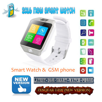 Harga (2016 New Version - Original) ZenGear new version DZ-09 Wearables Smartwatch Phone/Camera/Bluetooth/Touch Screen (White)