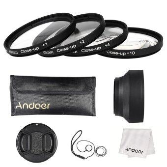 Harga Andoer 49mm Close-up Macro Lens Filter Set(+ 1 +2 +4 +10) with Lens Accessories(Lens Pouch/Collapsible Lens Hood/Lens Cap/Lens Cap Holder/Cleaning Cloth)