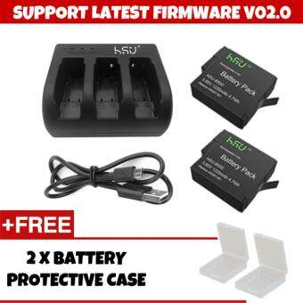 Harga (GENUINE) HSU SUPPORT NEW FIRMWARE V02.0 HSU GoPro Accessory Set 2 Pack 3.85 V GoPro Hero 5 Battery with 3 Slot Charger Kit