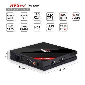 Harga H96 Pro Plus 3GB+32GB Android 6.0 TV Box Amlogic S912 Octa Core 4K Fully Loaded