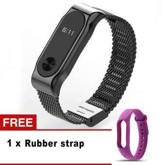 Harga Mijobs Screwless Stainless Steel Bracelet For Xiaomi Mi Band 2 Metal Strap Accessories For Mi Band 2
