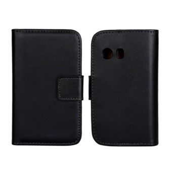 Harga Moonmini Genuine Leather Flip Stand Cover for Samsung Galaxy Y S5360 (Black)